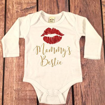 Mommy's Bestie bodysuit baby girl shirt,sparkle Tee, going home outfit, newborn creeper, baby shower gift,sparkle glitter top, mommy's mini