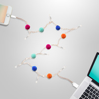 LED Charging Cable for iPhone 5/6/7/8: Pom Pom