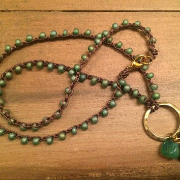 Green Lovers Crochet Necklace, Boho Necklace, Green and Brown, Jasper, Pyrite and Agate3