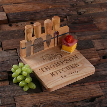 Personalized Bamboo Wood Cutting Bread Cheese Serving Tray Board with Tools – B