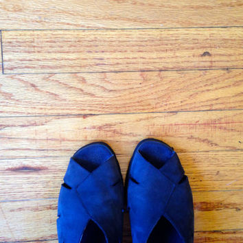 Vintage 90s Chunky Shoes 8.5 - 90s Chunky Sandals Navy Suede Sandals 90s Shoes Leather Strappy Sandal Vintage Womens Shoes 90s Chunky Shoes