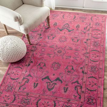 NuLOOM Hand Tufted Kimberly Overdyed Style Rug Rug Pink