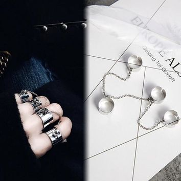 4 connecting finger ring Punk Style Stacking chain Finger Knuckle Rings Charm Leaf Ring Set for Women Jewelry