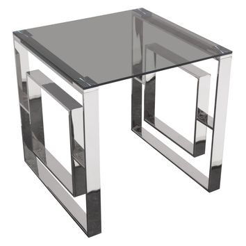 Muse Square End Table with Smoked Tempered Glass Top and Polished Stainless Steel Base