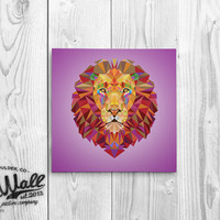 Kids Wall Art - Geometric Lion -  Playroom Decor Canvas Print