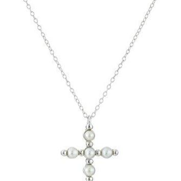 SHIP BY USPS: Rhodium Plated Sterling Silver Birthstone Cross Pendant Necklace, 18""