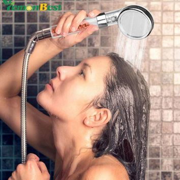 DCCKU7Q Universial 8cm Ionic Shower Head Filter Handheld Turbocharged Pressure Showerhead Water Saving with Energy Ball Filtration