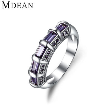 MDEAN White gold plated Purple rings for women CZ Diamond Jewelry Zircon wedding Engagement women rings Bijoux ring bague MSR244