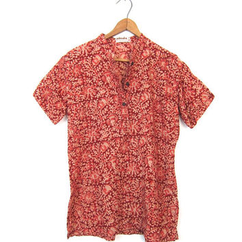 Cotton Gauze Floral Blouse Short Sleeve Fabindia Shirt Deep Red Flower Print Indian Top Tribal Tunic Top Ethnic Print Collared Tshirt Medium