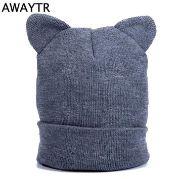 AWAYTR Autumn Skullies & Beanies Cat Ears Woman Knit Skullies Headwear Beanie forWomen's Cat Beanies Ear Hat Ladies