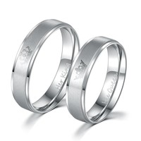 King and Queen Stainless Steel Ring Sets - His and Hers Couple Wedding Band Set Anniversary Engagement Promise Ring