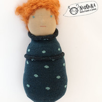 Pocket waldorf doll with blue spotted socks body - toy for toddlers - baby doll - new born doll - boy doll
