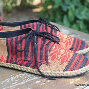 Mens Shoes Lace Up Oxfords In Tribal Naga Textiles Vegan