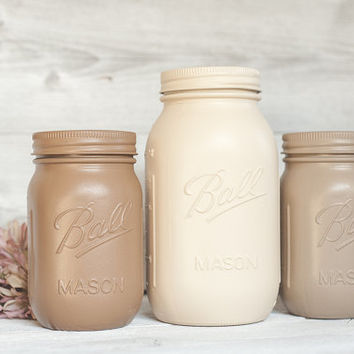 Painted mason jars, mason jars, wedding centerpieces and baby shower decor, rustic kitchen canisters, tan