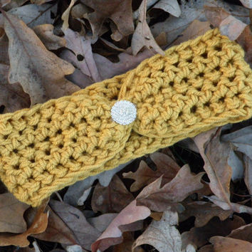 Ear Warmer Top Knot Headband Mustard Yellow Rhinestone Ear Warmer Women's Accessories Ready To Ship