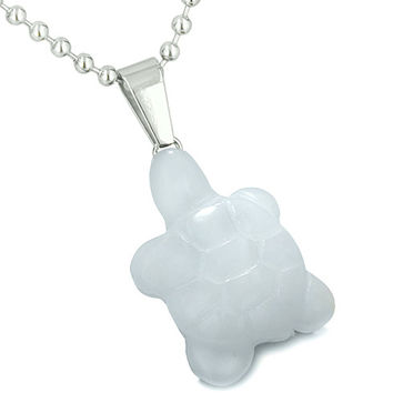 Good Luck Charm Turtle Amulet White Snowflake Quartz Healing Powers Pendant 22 Inch Necklace