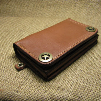 Brown Bifold Leather  iPhone wallet case wristlet- Hand Stitched -Multifunction iPhone4/iPhone4s Cover Case -100%handmade