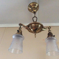 Antique Pan Chandelier 2 Long Frosted Acid Etched Shades 1920s Victorian