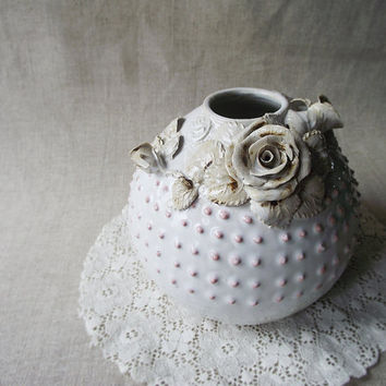 MAKING - Vase with pink dots and roses  - Wheel thrown - Stoneware (grès) Vase