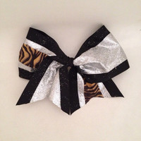 "Large 3 1/2"" Cheer Bow (black, silver glitter, tiger stripes)"
