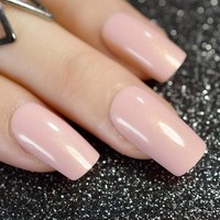 Naked Color Square False Nails Cream Nude Pink Shimmer Glitter Fake Nail Tips Patch Art Tool Finished Full Faux Ongle