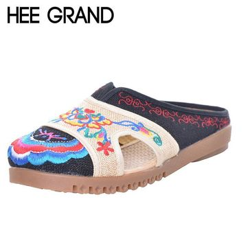 HEE GRAND Handmade Hemp Ethnic Women's Shoes 2017 Summer Embroidery Flat Heel Cut-outs Patchwork Slides XWD5134