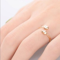 New Arrival Gift Jewelry Stylish Shiny Korean Diamonds Adjustable Accessory Ring [6586142855]