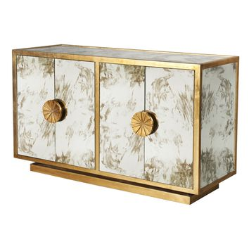 Calypso Mirror Cabinet in Gold Leaf
