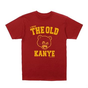 LEQEMAO Kanye West I Miss The Old Kanye College Dropout + Hip-Hop Stickers Short Sleeves New Fashion T Shirt Men Clothing