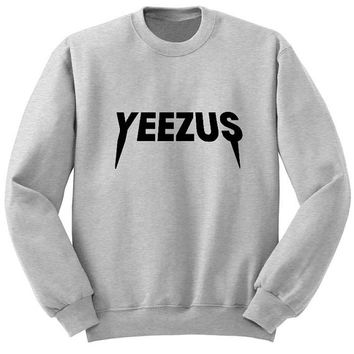 yeezus sweater Gray Sweatshirt Crewneck Men or Women for Unisex Size with variant colour