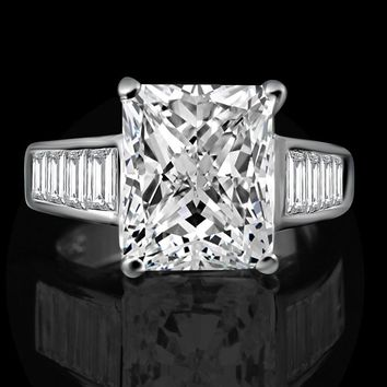Fine Diamond Veneer Radiant Cushion cut Engagement Ring