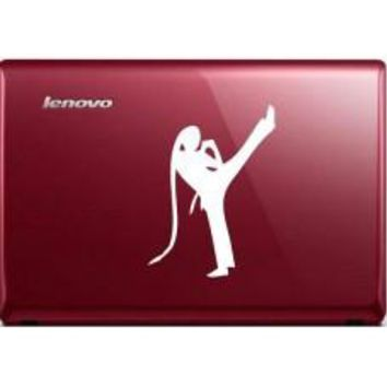 Karate Girl Automobile Decal Car Window Decal Notebook Macbook Tablet PC Computer Automobile Window Wall Laptop Notebook Ipad cell phone