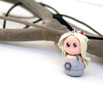 Daenerys Targaryen , Khaleesi ,Mother of Dragons, Game of thrones Polymer Clay Chibi Charm Necklace