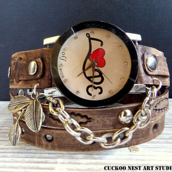 Leather Watch, Wrap Watch, Ladies watch, Bracelet Watch, Vintage brown Love Watch, Leather bracelet, Women's gift