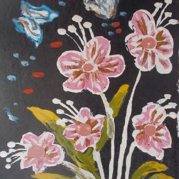 Pink Flowers With butterfly Aceo Original Acrylic painting Kids  art Aceo size 6.40 / 8.96 cm / .2.5 x 3.5 Inch