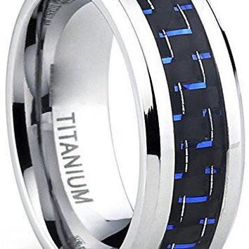 8mm Titanium Ring Wedding Engagement Band with Black and Blue Carbon Fiber Inlay