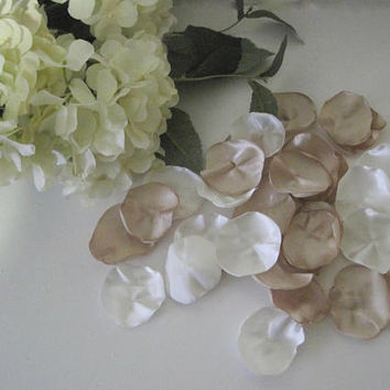 Champagne and Ivory Satin Rose petals wedding, aisle, flower girl basket anniversary romantic night  Baby Shower Wedding Decor