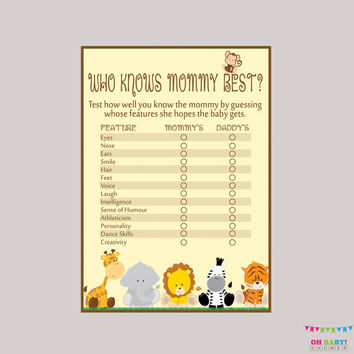 Who Knows Mommy Best Printable - Safari Baby Shower Game - Digital Instant Download - Safari Baby Shower Game Elephant, Monkey - BS0001-N