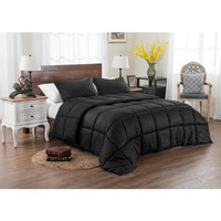 3PC Reversible Solid/ Emboss Striped Comforter Set- Oversized & Overfilled ( 2 Bedding Looks in 1) - Black in Queen Size