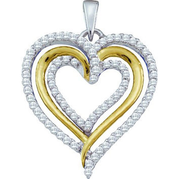 Diamond Heart Pendant in 10k White Gold 0.4 ctw