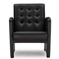 Baxton Studio  Jazz Black Faux Leather Upholstered Club Chair Set of 1
