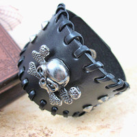 Bangle skull bracelet leather bracelet men bracelet made of Metal skull and black leather wrist bracelet  SH-1791