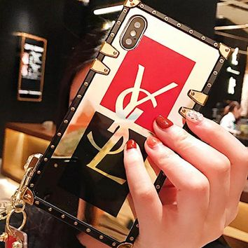 YSL New fashion letter print contrast color protective case phone case