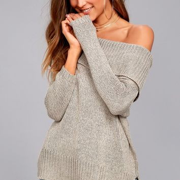 Forever Love Heather Grey Off-the-Shoulder Sweater