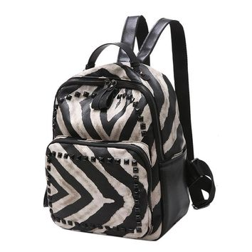 DXYZ Brand Fashion Women Rivet PU Leather Backpack Female Zebra Pattern Girls Travel Phone Bag Shoulder Bags Mochila Schoolbag