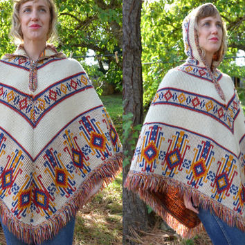 Vintage Bohemian Hippie Ethnic Native American Hooded Poncho Jacket