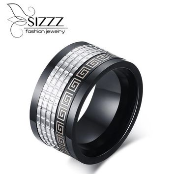 SIZZZ  Retro style men ring with greek key pattern black+Silver Color 12mm wide male accessories