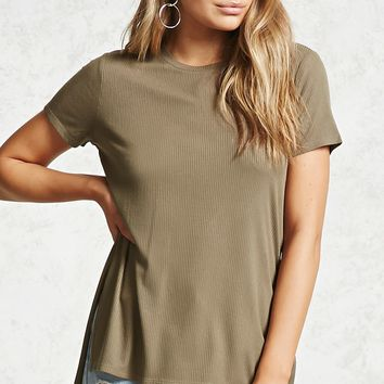Ribbed Knit High-Low Tee