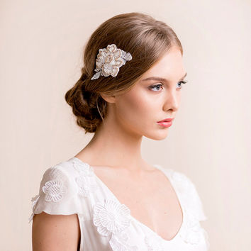 Lace Flower Hair Clip with Rhinestones - Bridal Hair Clip - Wedding Hair Clip - Bridal Hair Accessory - Bridal Hair Jewelry - Gold