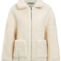 Cozy Condition Teddy Faux Fur Long Sleeve Oversize Collar Two Pocket Zip Front Coat Outerwear